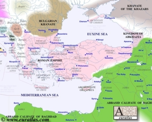 Map of Europe in Year 800, Southeast - Kingdom of Abkhazia