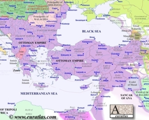 Map of Europe in Year 1800, Southeast - Abkhazia