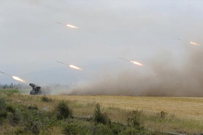 Georgian army rocket batteries firing on Ossetian cities and villages, August 2008
